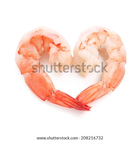 Boiled prawn peeled shrimp ready to cook eat some shadow on white isolated with clipping path. - stock photo