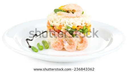 Boiled rice with shrimps and vegetables on plate isolated on white - stock photo