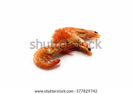 boiled shrimp in white background