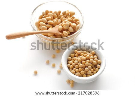 boiled soybean and dried soybean - stock photo