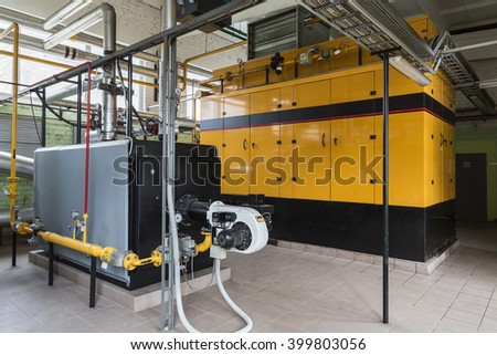 Boiler room with gas boiler and gas engines