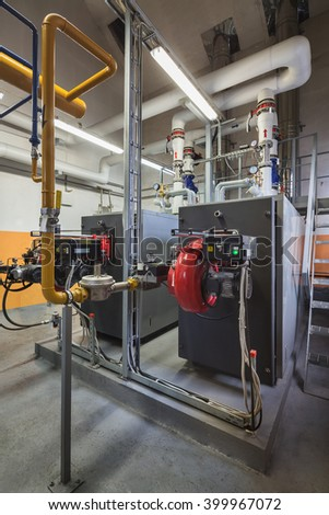 Boiler room with gas boilers