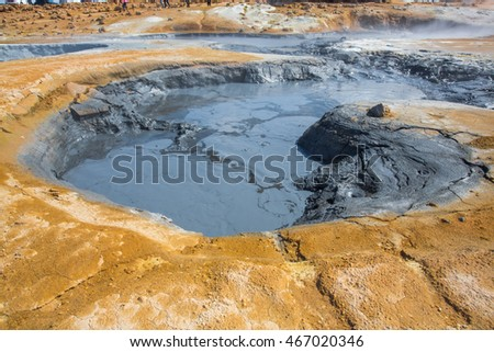 Boiling mudpot in Hverarond geothermal field in Iceland.