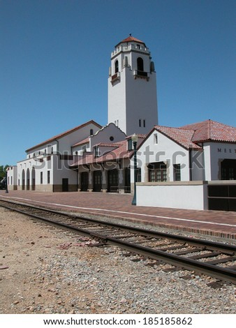 Boise Depot was constructed in 1925. It is a well known Idaho landmark displaying elements of Spanish Mission style architecture.           - stock photo