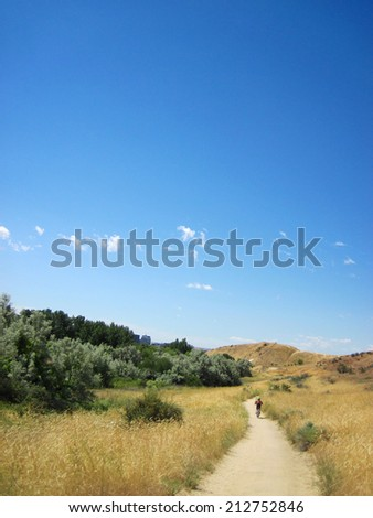 Boise foothills mountain bike trail - stock photo