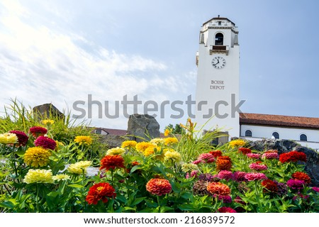Boise historic building and colorful flowers - stock photo