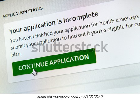 BOISE,IDAHO/USA - DECEMBER 21 2013: About to continue the application at the healthcare.gov website