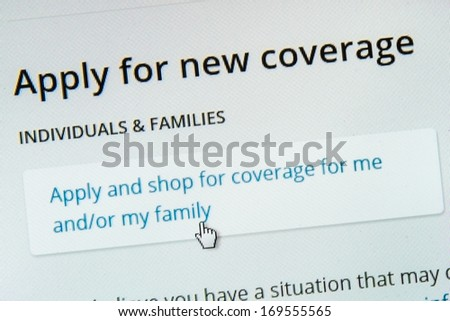 BOISE,IDAHO/USA - DECEMBER 21 2013: Applying for coverage on the healthcare.gov website.