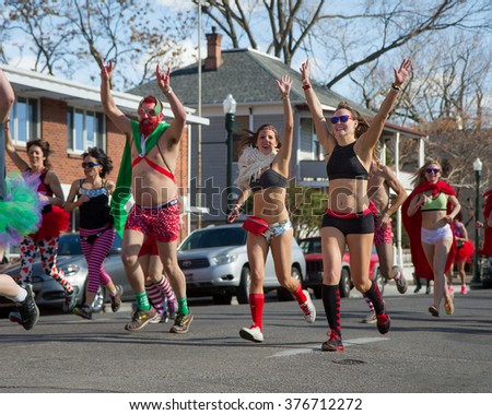 BOISE, IDAHO/USA FEBRUARY 13, 2016: Group of people near the start line of the Cupids underwear run in Boise, Idaho - stock photo