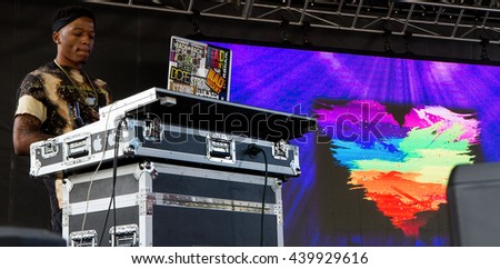 BOISE, IDAHO/USA - JUNE 20, 2016: DJ for Queen Sessi performing during hte Boise PrideFestival