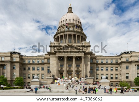 BOISE, IDAHO/USA - MAY 7, 2016:Group of people gathered at the Boise capital in support of making marijuana legal - stock photo