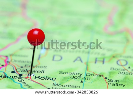 Boise pinned on a map of USA  - stock photo