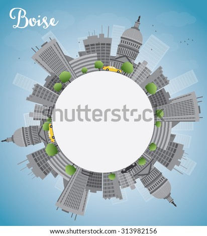 Boise Skyline with Grey Building, Blue Sky and copy space. Business travel and tourism concept with place for text. Image for presentation, banner, placard and web site.