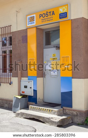 BOJNICE, SLOVAKIA - MAY 07, 2015: The entrance to post office in Bojnice