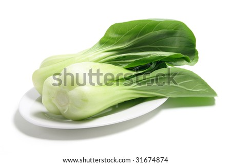 Bok Choy on Plate on White Background - stock photo