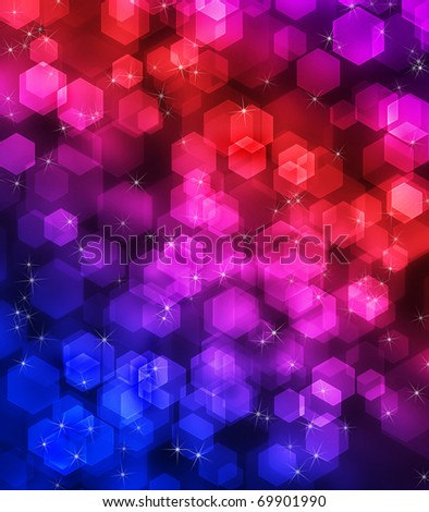 Bokeh Blur with Hexagons and sparkles - stock photo