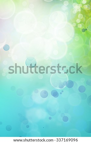 Bokeh circles green blue background, space for advertising copy