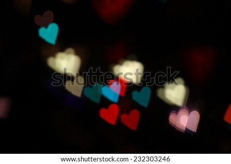 bokeh hearts - stock photo