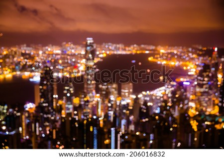 Bokeh Hongkong city light. View from the Peak. - stock photo