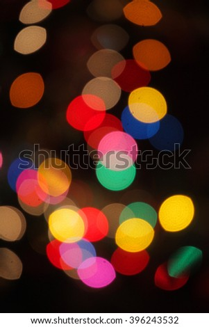 Bokeh of a colourful lights on a Christmas tree