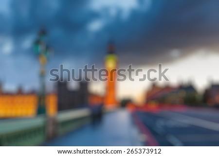Bokeh of Big Ben at dusk, London - stock photo