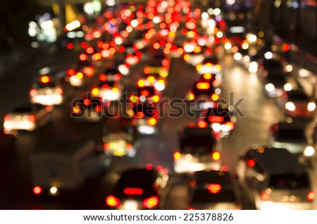 Bokeh of Evening traffic jam on road in city - stock photo