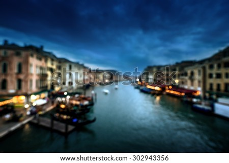 bokeh of Grand Canal, Venice, Italy - stock photo