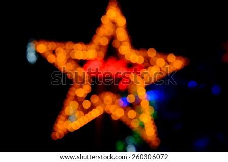Bokeh of the star night light, on black background - stock photo