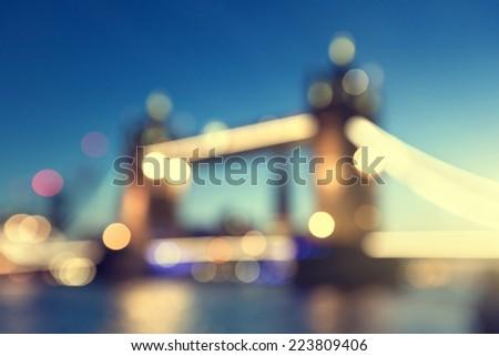 bokeh Tower Bridge of London, UK - stock photo