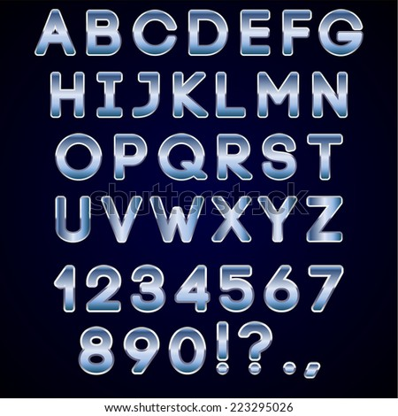 bold chrome and blue neon alphabet letters, digits and punctuation signs on dark background - stock photo