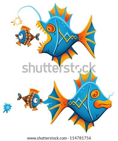 Bold little fish giving an instant fight back to a big angler fish creeping up from the back - stock photo