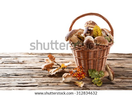boletus mushrooms in a basket on wooden background - stock photo