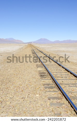 Bolivia, Antiplano - railroad between Bolivia and Chile - stock photo