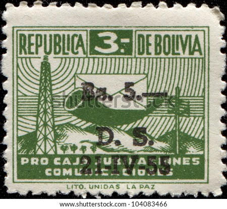 BOLIVIA - CIRCA 1944: A stamp printed in Bolivia shows Posthorn and Envelope, circa 1944