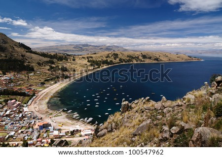 Bolivia - Copacabana city on the Titicaca lake, the largest highaltitude lake in the world (3808m). View on the Copacabana city and harbour - stock photo