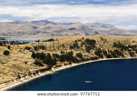 Bolivia - Copacabana city on the Titicaca lake, the largest highaltitude lake in the world (3808m). View on the Copacabana beach - stock photo