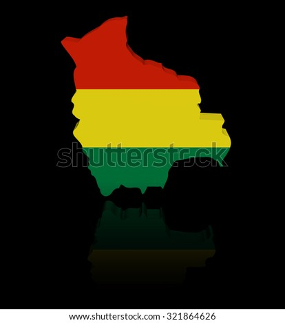 Bolivia map flag with reflection illustration - stock photo