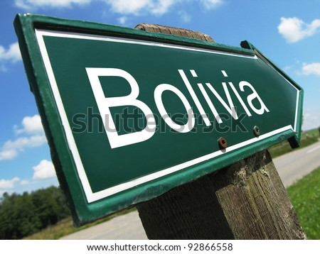 Bolivia road sign - stock photo
