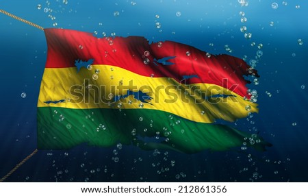 Bolivia Under Water Sea Flag National Torn Bubble 3D - stock photo