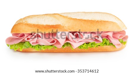 bologna and lettuce sandwich isolated on white - stock photo