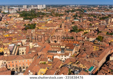 Bologna cityscape aerial view from Asinelli tower. Emilia-Romagna, Italy, Europe - stock photo