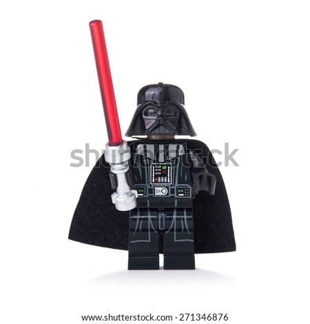 BOLOGNA, ITALY - APRIL 18, 2015: Star Wars Lego Darth Vader from movie series. Lego is a line of construction toys popular with kids and collectors worldwide. - stock photo
