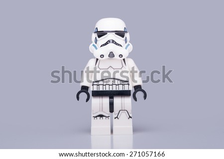 BOLOGNA, ITALY - APRIL 18, 2015: Studio shot of a Stormtrooper Lego minifigure from Star Wars movie series. Lego is a popular line of construction toys popular with kids and collectors worldwide. - stock photo