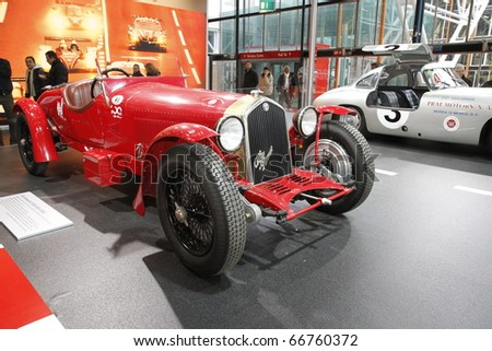 BOLOGNA ITALY-DEC 4: Bologna Motor Show, old alfa romeo racing on December 04, 2010 in Bologna Italy - stock photo