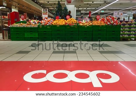 BOLOGNA, ITALY - DECEMBER 1, 2014: Coop Supermarket interior view. Coop is the main actor on the Italian market by supermarket chains.  - stock photo