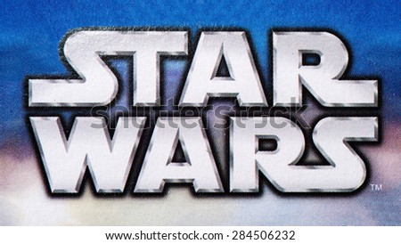 BOLOGNA, ITALY - JUNE 2, 2015: Star Wars logo printed on Lego box from movie series. Lego is a popular line of construction toys popular with kids and collectors worldwide. - stock photo