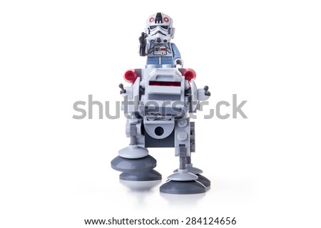 BOLOGNA, ITALY - JUNE 2, 2015: Studio shot of a Star Wars Lego AT-AT from movie series. Lego is a popular line of construction toys popular with kids and collectors worldwide. - stock photo