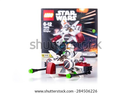 BOLOGNA, ITALY - JUNE 2, 2015: Studio shot of a Star Wars Lego box of Starfighter from movie series. Lego is a popular line of construction toys popular with kids and collectors worldwide. - stock photo