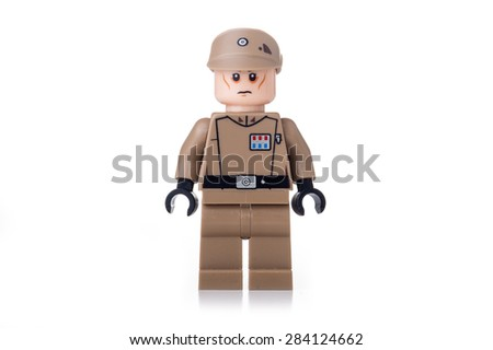 BOLOGNA, ITALY - JUNE 2, 2015: Studio shot of a Star Wars Lego minifigure from movie series. Lego is a popular line of construction toys popular with kids and collectors worldwide. - stock photo