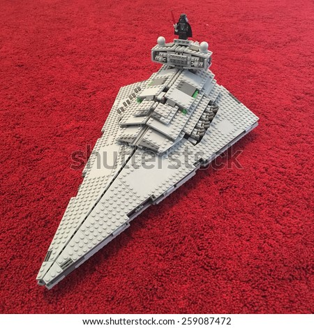 BOLOGNA, ITALY - MARCH 1, 2015: Star Wars Lego ship from movie series. Lego is a popular line of construction toys popular with kids and collectors worldwide. - stock photo